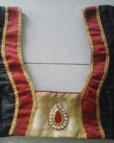 patch design black blouse with gold patch lace kundan design designer sri