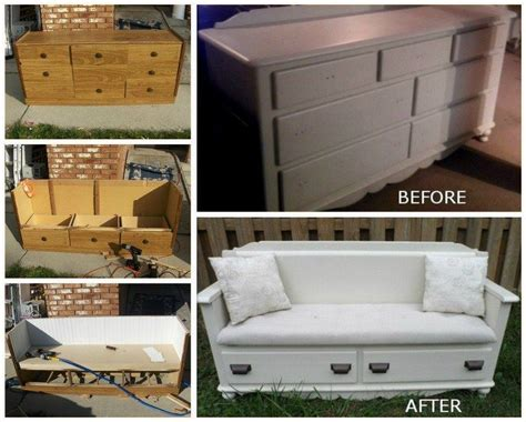 upcycled dresser  bench diy easy video instructions