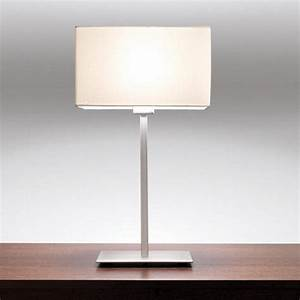 Contemporary design chrome table lamp with white for Linear floor lamp with rectangular white shade