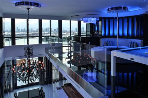 Miami Penthouse Mancave Gameroom Luxury Living   Contemporary   Miami   by Pooltableportfolio