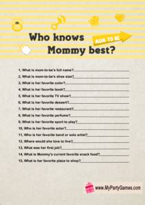 Who Knows Mommy Best? – Free Printable Baby Shower Game
