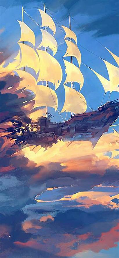 Anime Iphone Ship Illustration Fly Wallpapers Plus