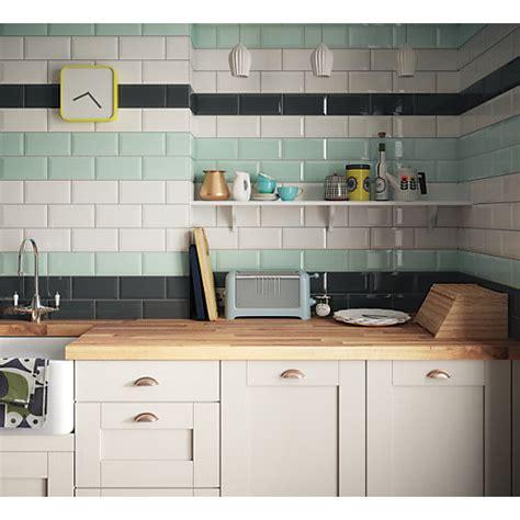 Wickes Metro Mint Green Ceramic Tile 200 X 100mm  Wickes