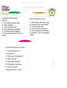 Time Place and Adverbs Worksheet