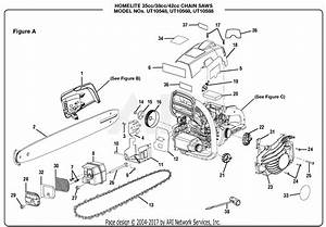 Homelite Ut10548 14 In  35cc Chain Saw Parts Diagram For