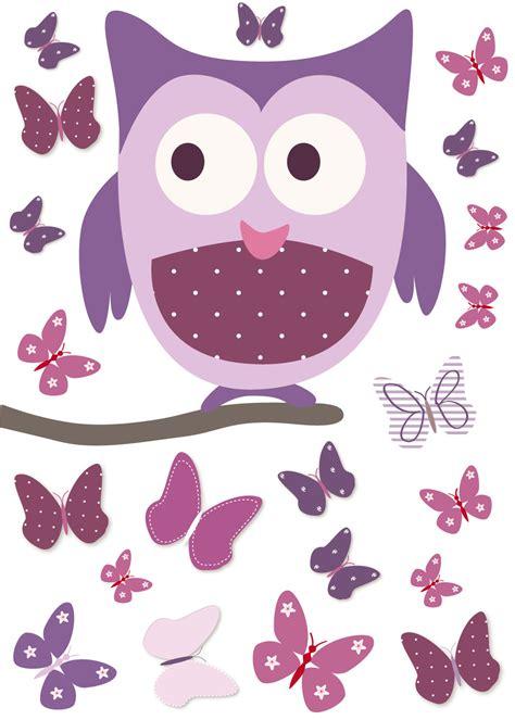 chambre fille et gris sticker chouette sur arbre et papillons et mauve pour chambre bébé fille