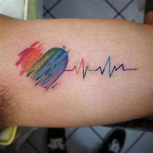 rainbow heart beat tatoo - Google Search | Tatoo ...