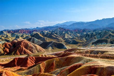 wallpaper zhangye national geopark colourful mountains