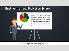 Businessman and Projection Screen PowerPoint Template