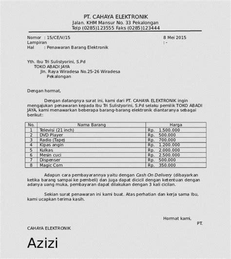 Contoh Surat Permintaan Barang Elektronik by 16 Contoh Surat Penawaran Barang Jasa Dan Kerjasama
