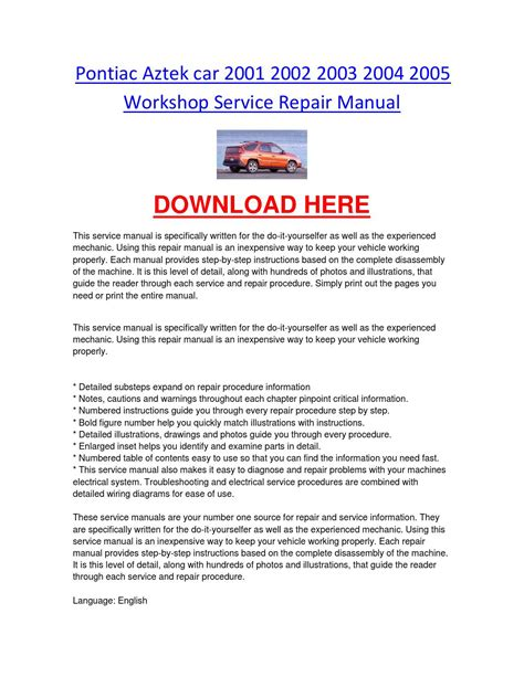 old cars and repair manuals free 2003 pontiac grand am transmission control pontiac aztek car 2001 2002 2003 2004 2005 workshop service repair manual by chevroletservice