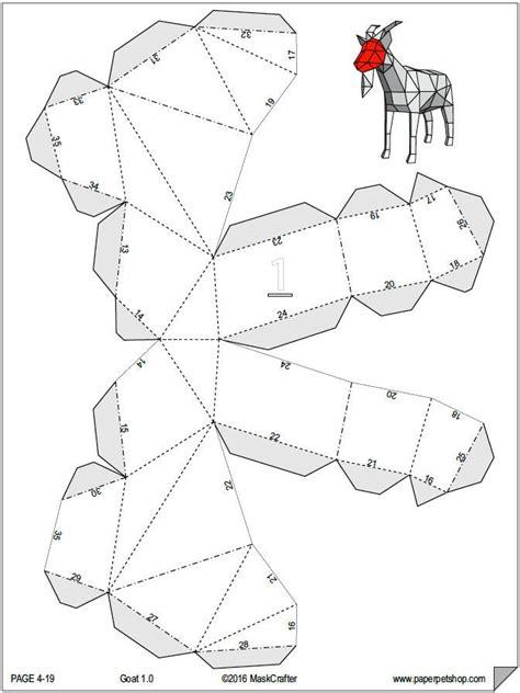 3d template papercraft goat 3d template diy lowpoly paper farm pet paperpetshop papercraft templates