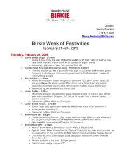 slumberland american birkebeiner schedule final