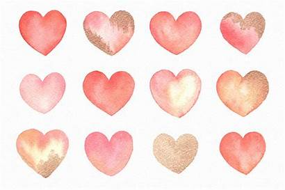 Valentine Watercolor Hearts Clipart Graphics Handpainted Gold