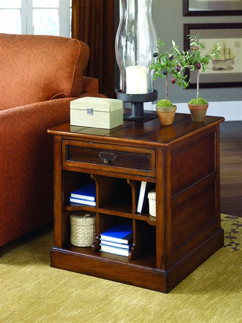 Elegant End Tables With Storage With Square Shape And Well