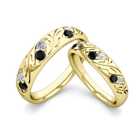 matching wedding band   gold black diamond