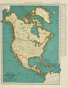 Vintage Map North America From 1937 Original