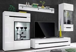 Wohnwand Weiß Hochglanz : wohnwand 4 tlg wohnzimmer ~ Markanthonyermac.com Haus und Dekorationen