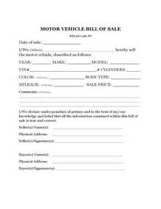 Motor Vehicle Bill of Sale Template Free