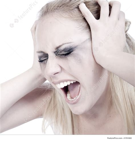 studio portrait   screaming young blond woman