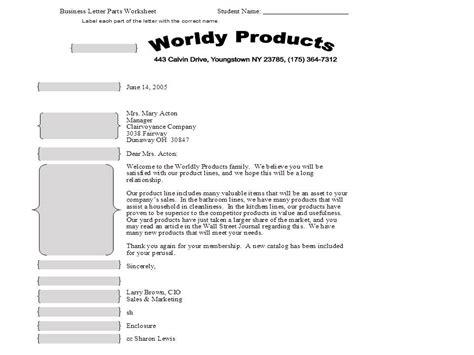 parts   business letter worksheet