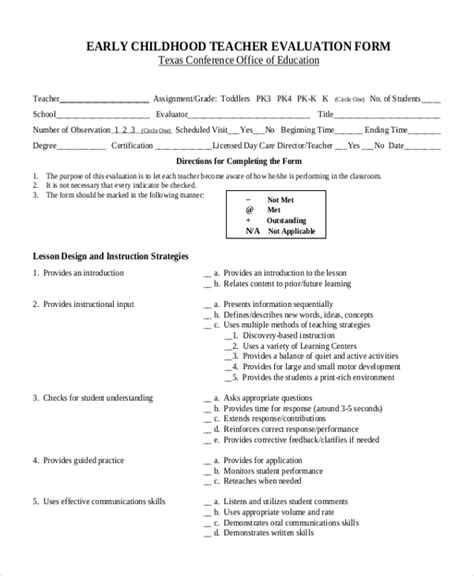 sample evaluation form 11 free documents in pdf 832   EARLY CHILDHOOD TEACHER EVALUATION FORM