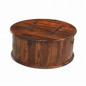 Jodhpur sheesham indian furniture round coffee table for Round coffee table storage