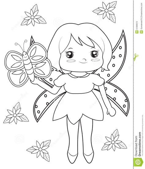 fairy  butterfly coloring page stock illustration