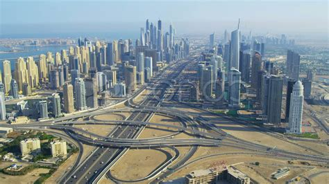 Aerial View Dubai Sheikh Zayed Road