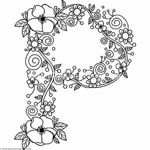 Floral Alphabet Letter P Coloring Pages