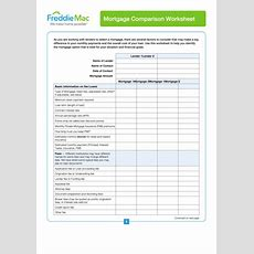 Mortgage Comparison Worksheet Template Printable Pdf Download