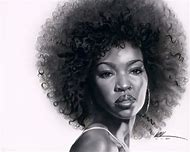 Black Woman Natural Afro Hair Art