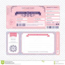 Boarding Pass Wedding Invitation Template Royalty Free
