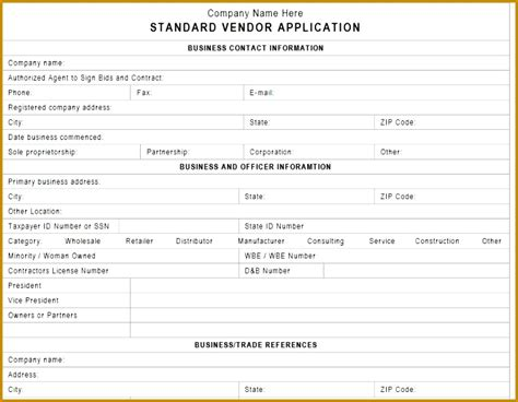 vendor form template fabtemplatez