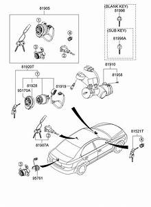 Hyundai Sonata Cylinder Assembly - Steering  U0026 Ignition Lock