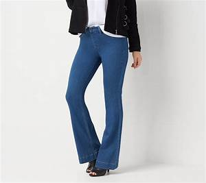 Laurie Felt Silky Denim Pull On Flare Jeans Qvc Com