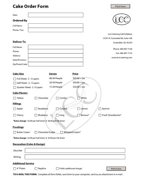 cake order forms  pinterest contact form templates