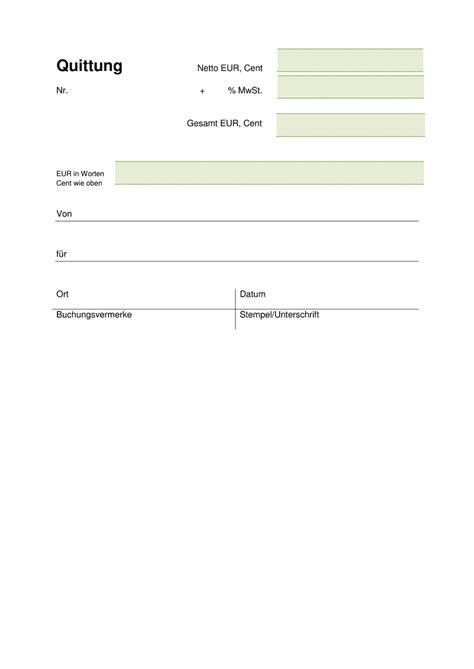 quittungsvorlage kostenlos herunterladen vorlage quittung