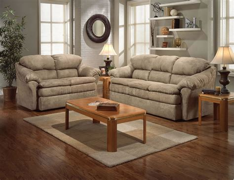 camel microfiber contemporary sofa loveseat set wpillow