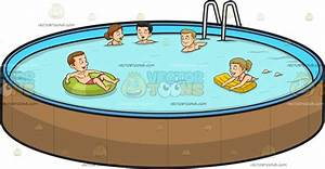 Five People Swimming In An Outdoor Pool Cartoon Clipart ...