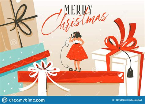 Hand Drawn Vector Abstract Fun Merry Christmas And Happy
