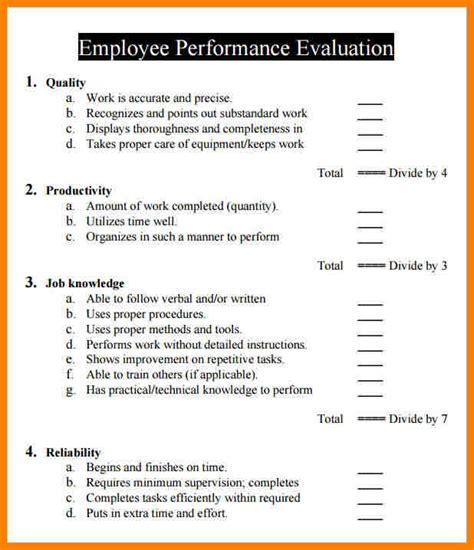 sle performance evaluation form free employee