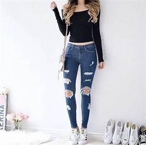 Jeans denim top cropped crop tops crop tops black ...
