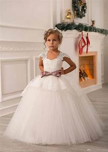 ivory lace beaded 2016 ball gown flower girl dresses With wedding dresses for little girls