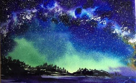 Full Demonstration Tutorial Watercolor Milky Way Sky