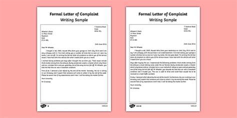 formal letter  complaint writing sample