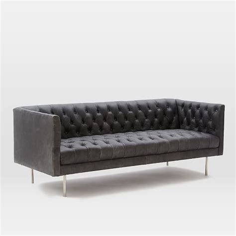 modern leather chesterfield sofa modern chesterfield leather sofa 79 quot west elm