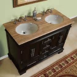 48 inch compact double sink travertine stone top bathroom