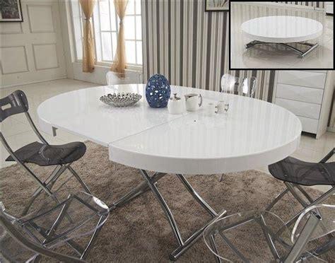 table basse ronde relevable et extensible saturna xl blanche diametre 120 cm