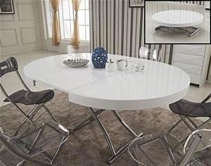 Table Ronde Extensible Design : table ronde blanche extensible table haute de cuisine maison boncolac ~ Teatrodelosmanantiales.com Idées de Décoration